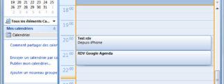 Synchronisation des agendas Outlook et Google