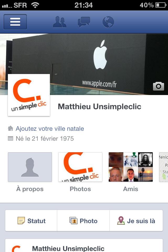 Facebook : mise à jour de l'application iOS avec l'arrivée de la Timeline