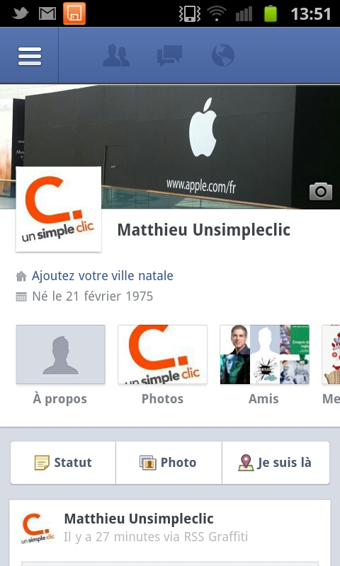 Facebook : Timeline sous Android