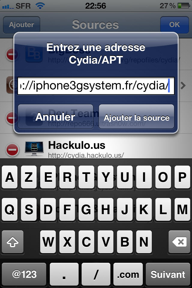 Installation source cydia