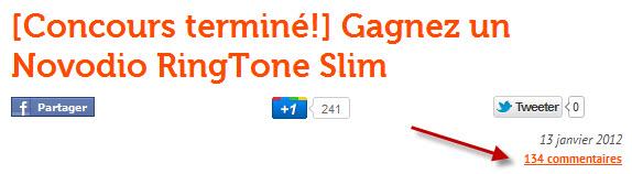 Tirage Novodio RingTone Slim - nombre commentaires