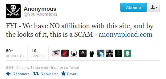 Anonyupload : Anonyme certes mais pas Anonymous
