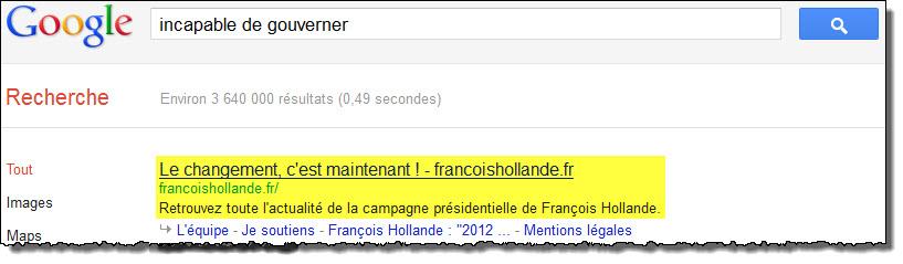 François Hollande est incapable de gouverner selon Google