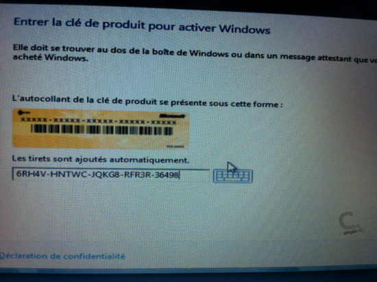 Windows 8 étape 5 clé d'activation