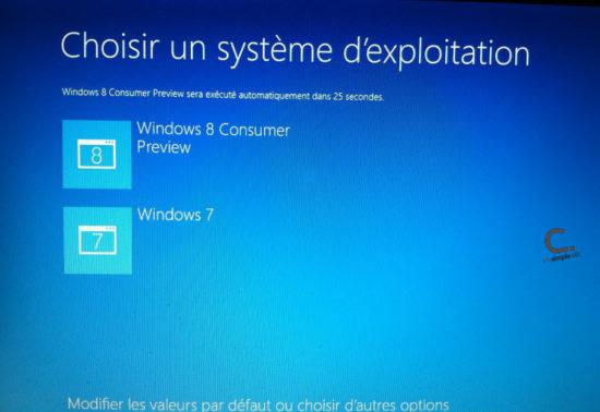 Windows 8 dual boot choix du système