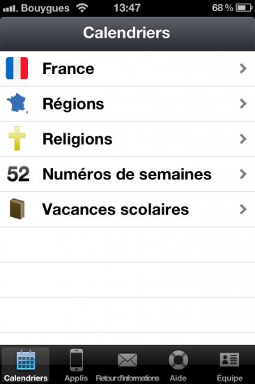 Jours fériés iOS accueil