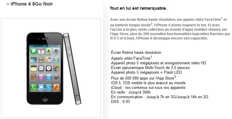 Free Mobile : iPhone 4 8Go