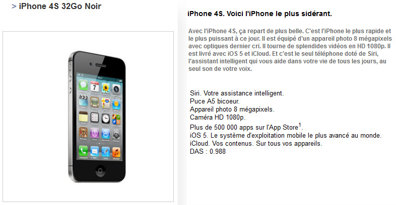 Free Mobile : iPhone 4S 32Go