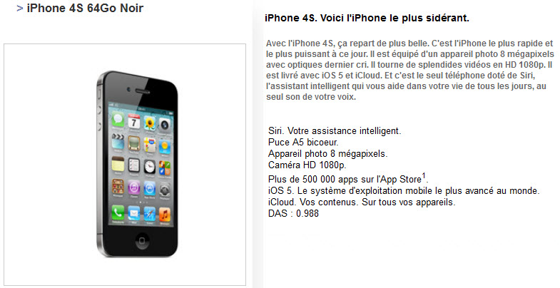 Free Mobile : iPhone 4S 64Go