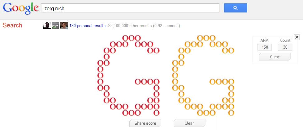 "Esater Egg Google : tapez ""zerg rush"" et défendez-vous!"