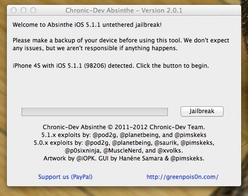 Chronic-Dev Absinthe - jailbreak iOS 5.1.1 - 1