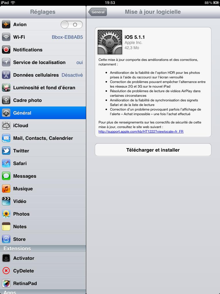 iOS 5.1.1 mise à jour Apple