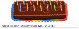 Google fête son 14ème anniversaire avec… un Doodle