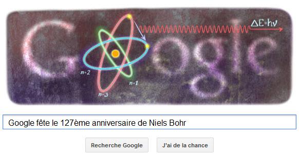 Google fête le 127ème anniversaire de Niels Bohr avec un Doodle