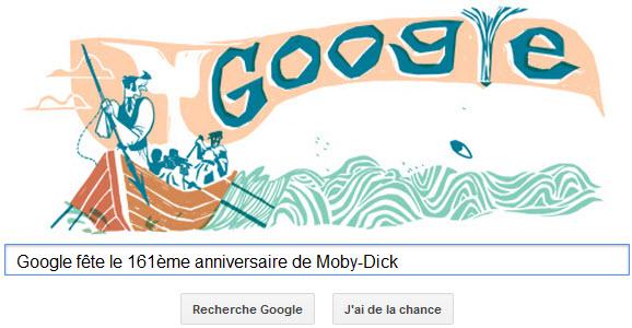 Google fête le 161ème anniversaire de Moby-Dick avec un Doodle