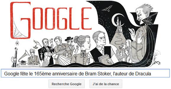 Google fête le 165ème anniversaire de Bram Stoker, l'auteur de Dracula [Doodle]