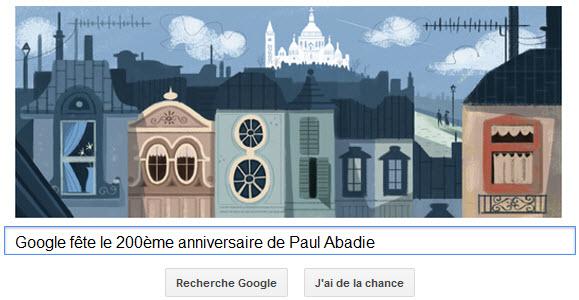 Google fête le 200ème anniversaire de Paul Abadie [Doodle]