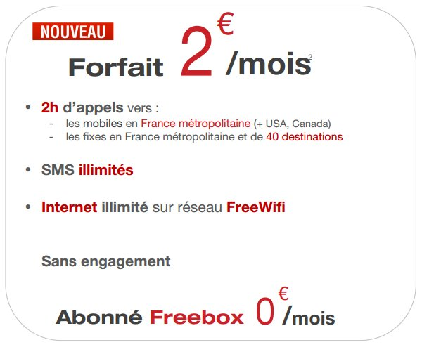 freemobile revoit son forfait 2 qui devient encore. Black Bedroom Furniture Sets. Home Design Ideas