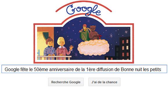 Google fête le 50ème anniversaire de la 1ère diffusion de Bonne nuit les petits