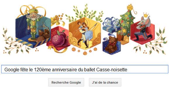 Google fête le 120ème anniversaire du ballet Casse-noisette [Doodle]