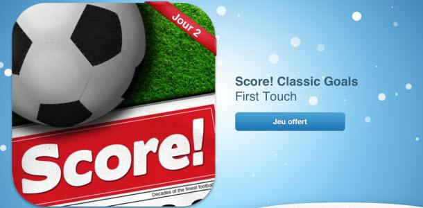 12 jours cadeaux iTunes 2012 – Jour 2 : le jeu Score! Classic Goals