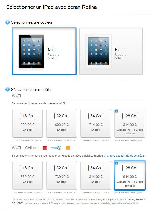 L'iPad Retina 128 Go est disponible