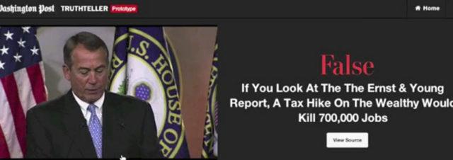 Le Washington Post expérimente un logiciel anti-bobards des politiques!