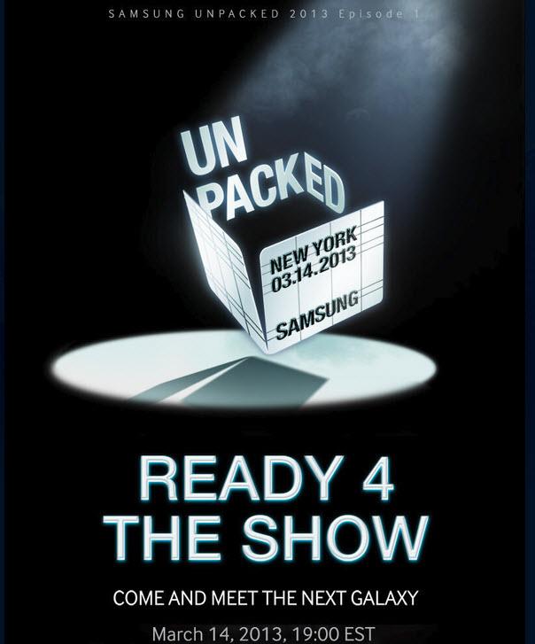 Le Samsung Galaxy S4 sera officiellement présenté le 14 mars 2013 à New-York!