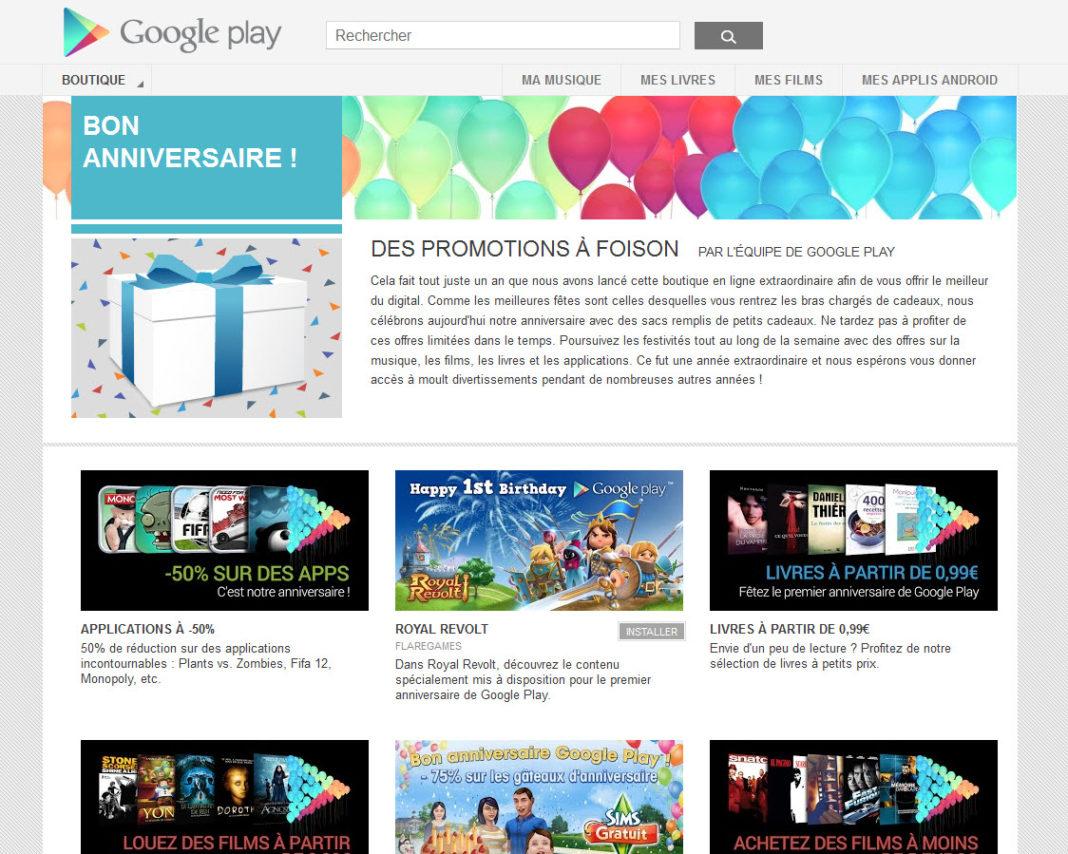 Google Play fête son 1er anniversaire et lance des offres spéciales pour l'occasion