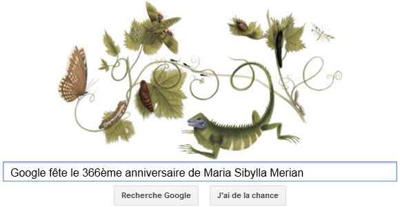 Google fête le 366ème anniversaire de Maria Sibylla Merian [Doodle]