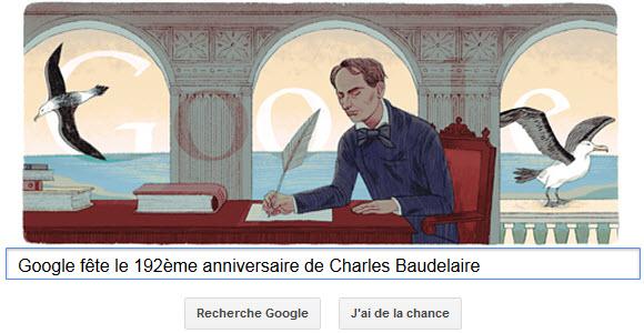 Google fête le 192ème anniversaire de Charles Baudelaire [Doodle]