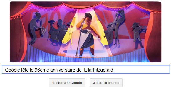 Google fête le 96ème anniversaire d'Ella Fitzgerald [Doodle]