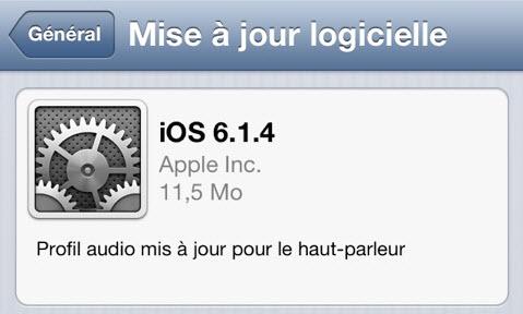 L'iOS 6.1.4 est disponible!