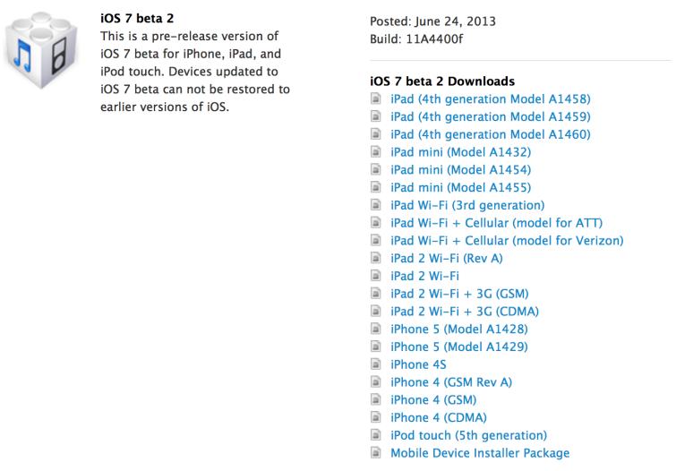 L'iOS 7 beta 2 est disponible et compatible iPad et iPad Mini!