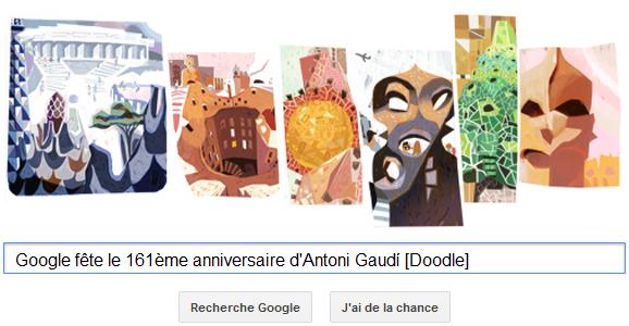 Google fête le 161ème anniversaire d'Antoni Gaudí [Doodle]