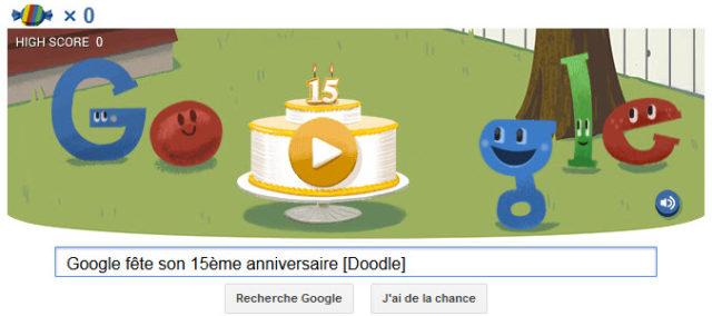 Google fête son 15ème anniversaire [Doodle]