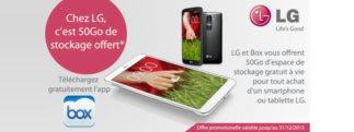 LG offre 50Go de stockage à vie pour l'achat d'un LG G2 ou tout pour autre smartphone ou tablette de la marque