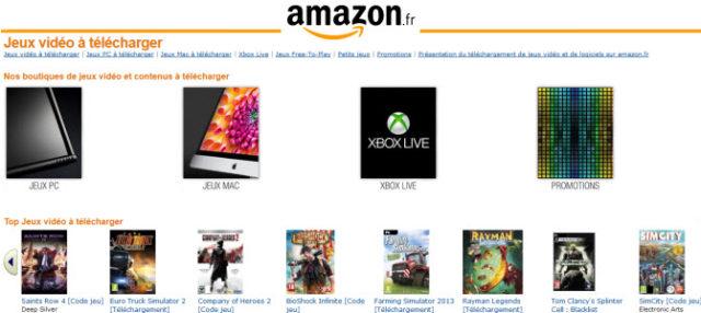 Amazon France vend dorénavant des jeux et des logiciels dématérialisés