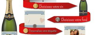 Processus personnalisation etiquette vins