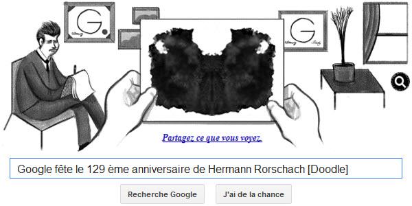 Google fête le 129ème anniversaire de Hermann Rorschach [Doodle]