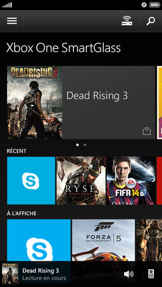 L'application Xbox One SmartGlass est disponible sur iOS, Android et Windows Phone