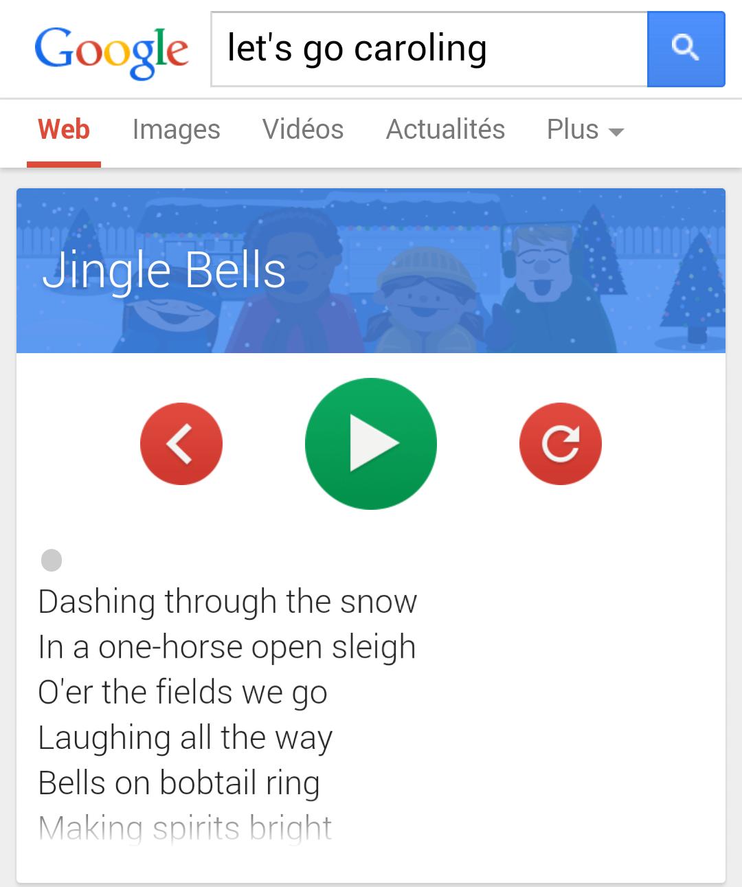 """Easter Egg Google : tapez """"let's go caroling"""" sur votre mobile et préparez-vous à chanter!"""