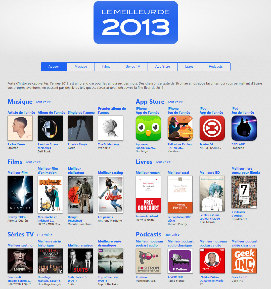 Le top iTunes 2013 est disponible
