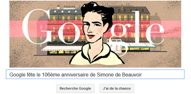 Google fête le 106ème anniversaire de Simone de Beauvoir [Doodle]