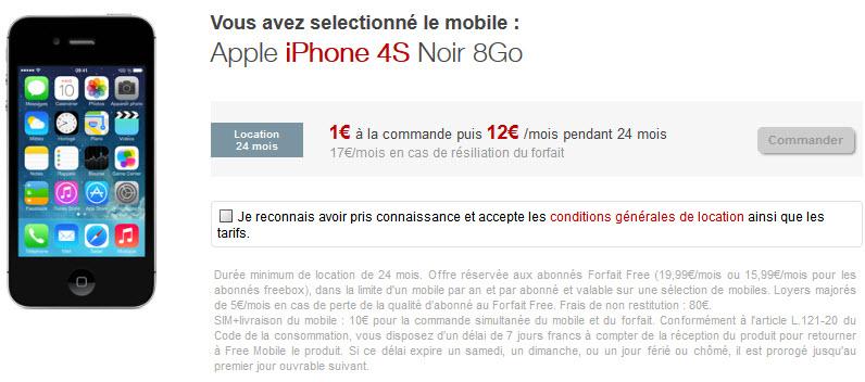 L'iPhone 4S est lui aussi maintenant disponible à la location chez Free Mobile