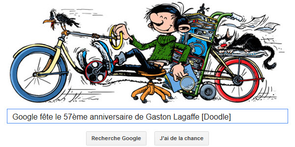 Google fête le 57ème anniversaire de Gaston Lagaffe [Doodle]