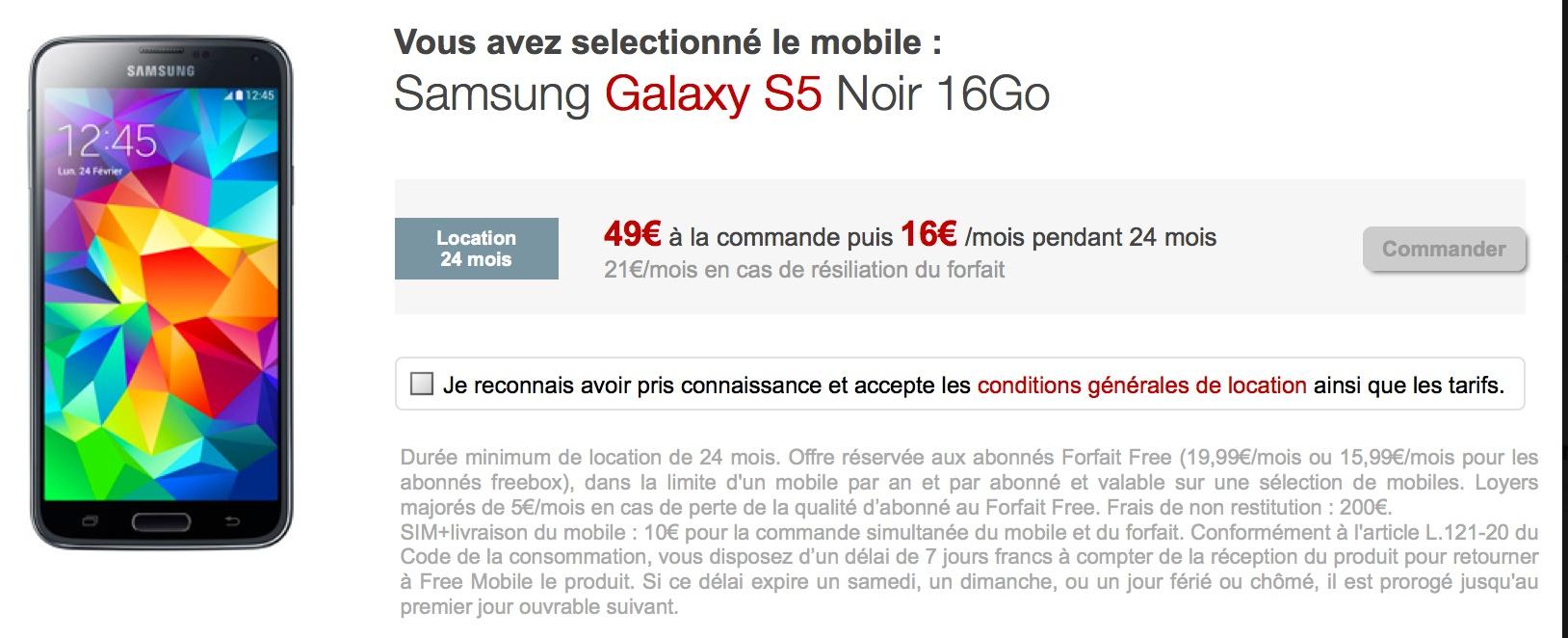 Free Mobile ajoute le Samsung Galaxy S5 à son offre de location