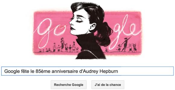 Google fête le 85ème anniversaire d'Audrey Hepburn [Doodle]