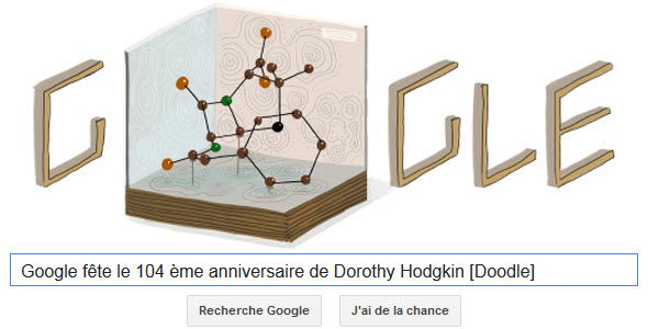 Google fête le 104 ème anniversaire de Dorothy Hodgkin [Doodle]
