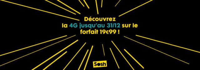 #Sosh - La 4G est maintenant disponible sur le forfait à 19,99€ jusqu'au 31/12/2014 et une nouvelle option fait son apparition